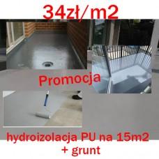 Hydroizolacja poliuretanowa odporna uv Waterproofing Pur 500  wydajność od 15m2  zestaw z żywicą gruntującą.